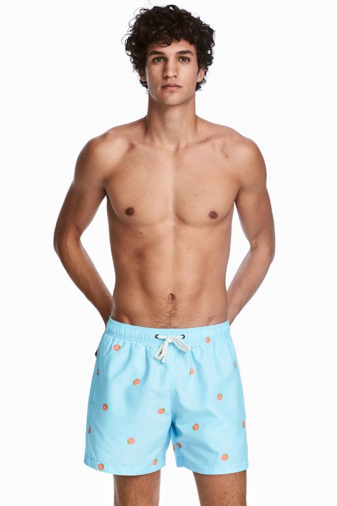 ab9c33873 Short swim shorts - Light blue/Grapefruit - Men | H&M ...