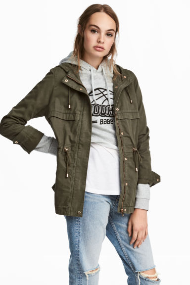 Short parka with a hood - Dark khaki green -  | H&M