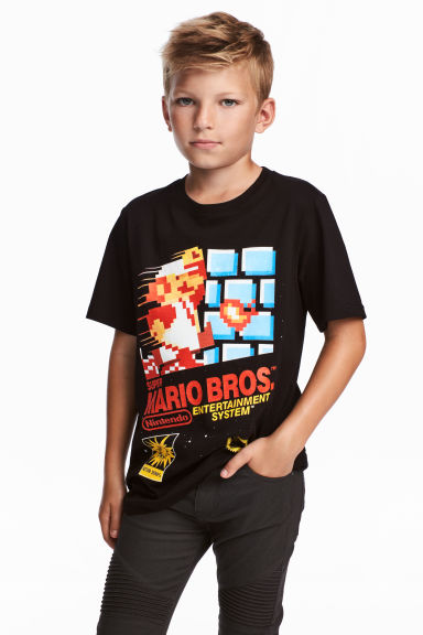 T-shirt with a print motif - Black/Super Mario Bros. - Kids | H&M CN