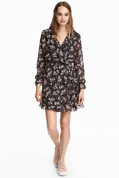Wrap dress - Black/Small floral - Ladies | H&M