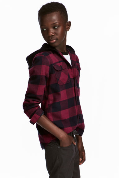 Hooded flannel shirt - Red/Black checked -  | H&M