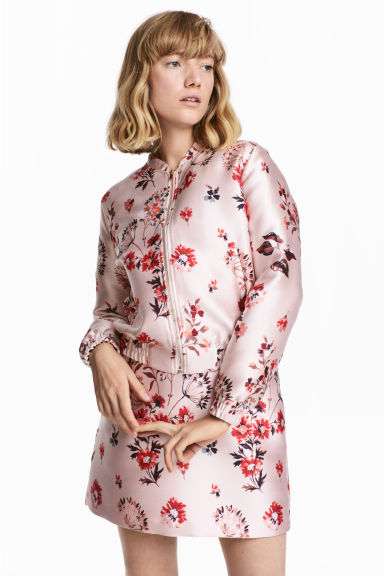Jacquard-weave jacket - Light pink/Floral - Ladies | H&M CN