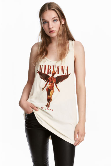 Vest top - Natural white/Nirvana -  | H&M