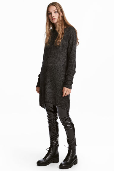 Loose-knit dress - Black marl - Ladies | H&M