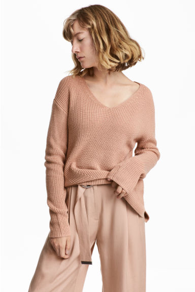Double-knitted jumper - Beige -  | H&M CN