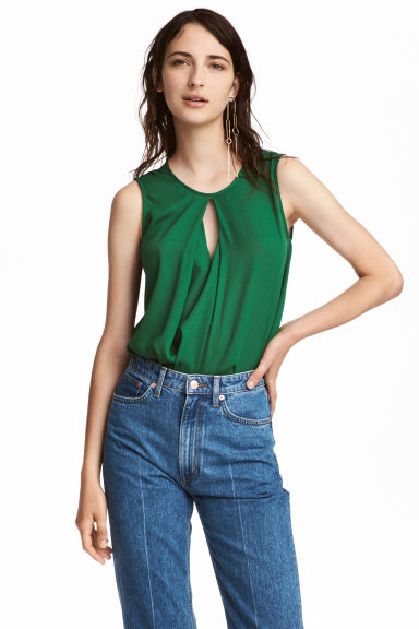 Top with a pleat - Green - Ladies | H&M CN