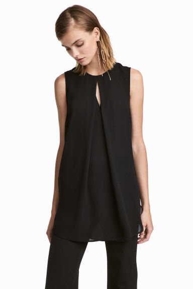 Top with a pleat - Black -  | H&M