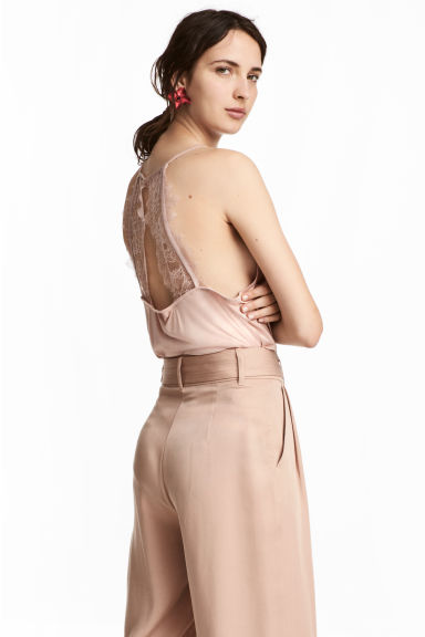 Lace-back top - Powder pink - Ladies | H&M CN