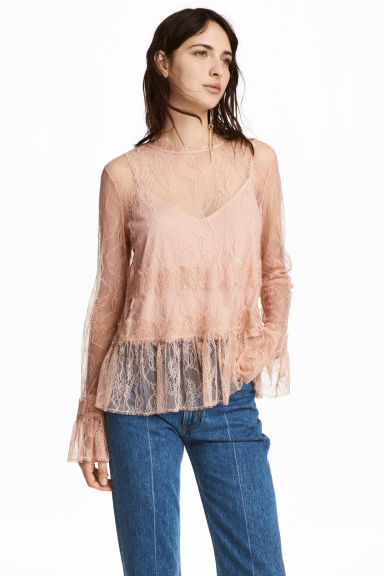Lace top - Powder - Ladies | H&M
