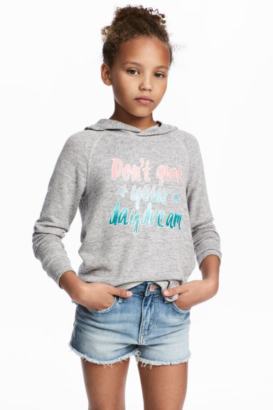 Hooded top with a print motif - Grey marl -  | H&M