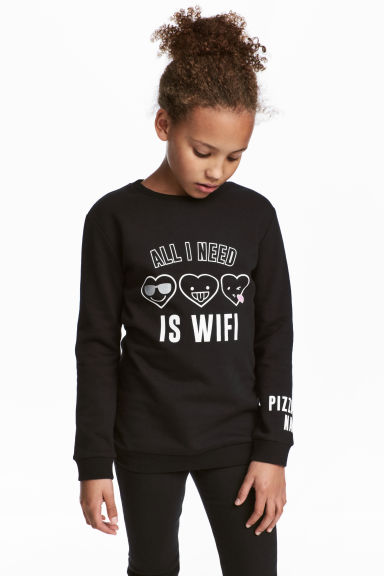 Sweatshirt with a motif - Black -  | H&M CN