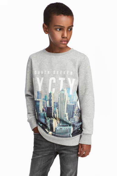 Printed sweatshirt - Grey marl - Kids | H&M GB