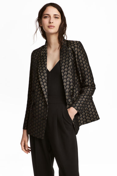 Jacquard-weave jacket - Black - Ladies | H&M CN