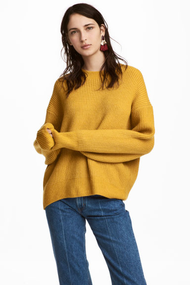 Ribbed jumper - Yellow -  | H&M