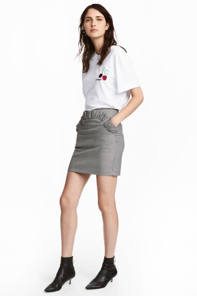 Falda corta - Blanco y negro Pata de gallo - MUJER  b12df789d42c