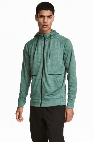 Hooded sports jacket - Light green marl - Men | H&M