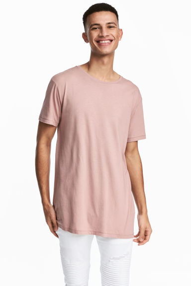 Long T-shirt - Dusky pink - Men | H&M