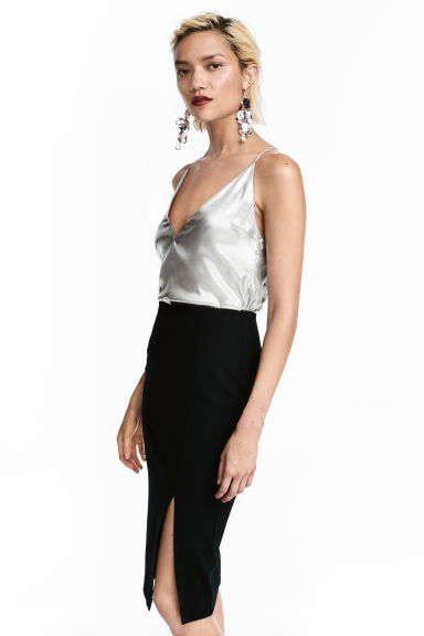 Shimmering metallic top - Silver-coloured -  | H&M