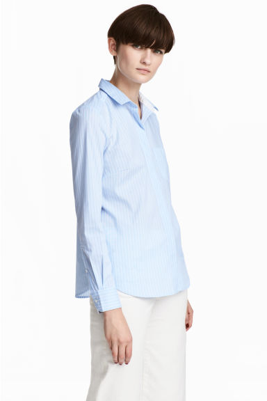 Fitted shirt - Blue/Striped - Ladies | H&M