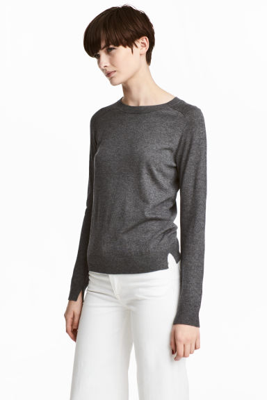 Knitted wool-blend jumper - Dark grey - Ladies | H&M CN