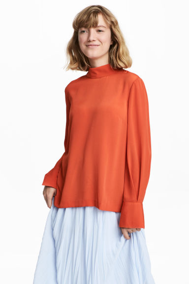 Blouse with a stand-up collar - Orange - Ladies | H&M IE