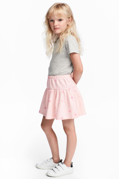 Flounced jersey skirt - Light pink/Spotted -  | H&M