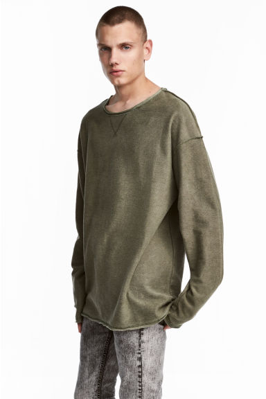 Long-sleeved top - Khaki green - Men | H&M