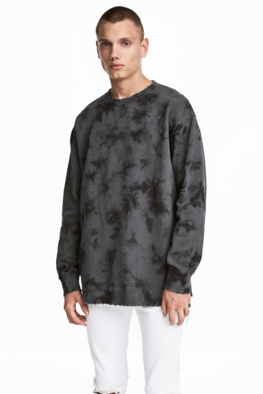 Sweat-shirt à motif batik - Gris/batik - HOMME | H&M BE