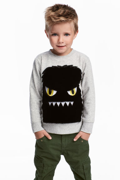 Sweatshirt with a motif - Grey marl - Kids | H&M