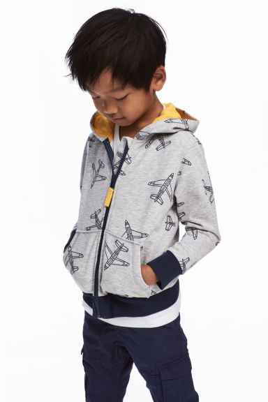 Hooded jacket - Grey/Aeroplane - Kids | H&M CN