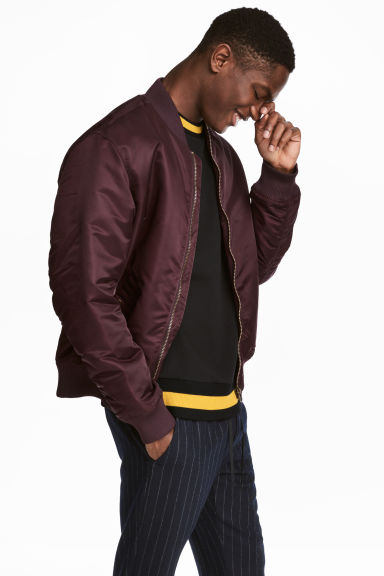 Padded bomber jacket - Burgundy - Men | H&M IE