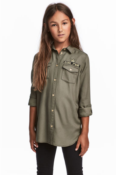 Shirt with embroidered motif - Khaki green - Kids | H&M CN