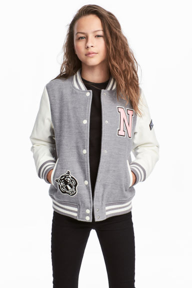 Padded baseball jacket - Grey/White -  | H&M