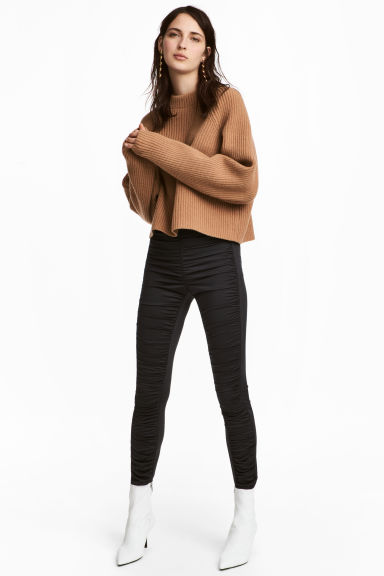 Gathered leggings - Black - Ladies | H&M CN