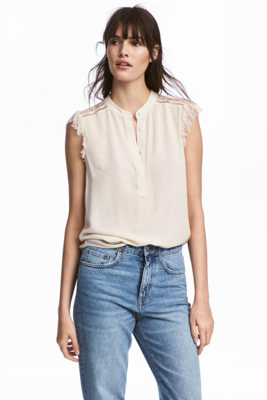 Crêpe blouse - Light beige -  | H&M GB