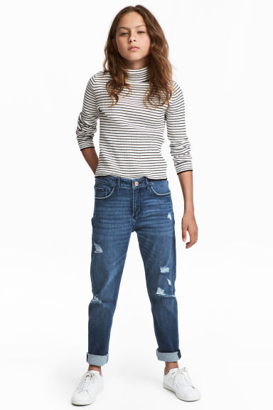 Relaxed fit Worn Jeans - 深牛仔蓝 -  | H&M CN