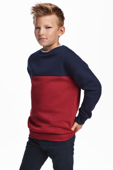 Sweater - Donkerblauw/bordeauxrood -  | H&M BE
