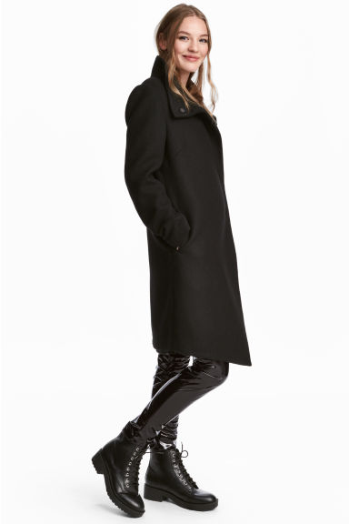 Wrapover coat - Black - Ladies | H&M GB