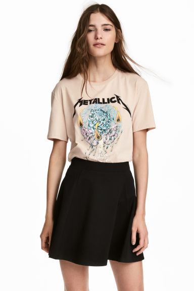 Printed T-shirt - Light beige/Metallica - Ladies | H&M IE
