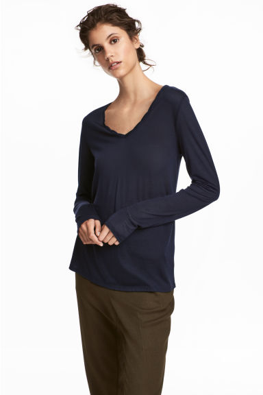 V-neck lyocell top - Dark blue -  | H&M