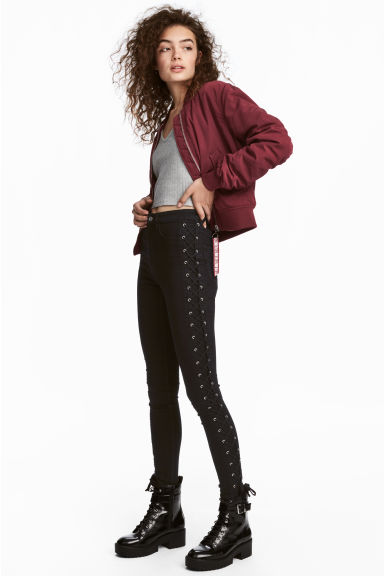 Twill trousers with lacing - Black - Ladies | H&M GB