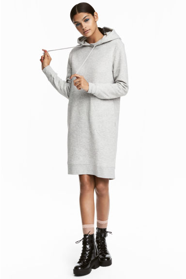 Hooded sweatshirt dress - Light grey marl - Ladies | H&M CN