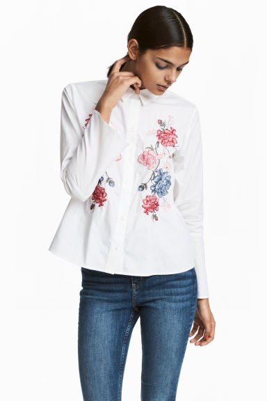Shirt with flared sleeves - White/Flowers - Ladies | H&M CN