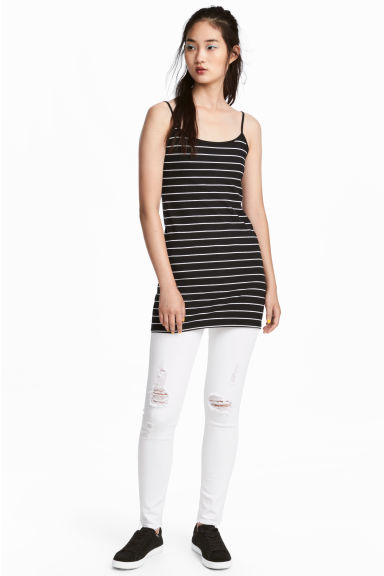 Long jersey strappy top - Black/Striped -  | H&M CN