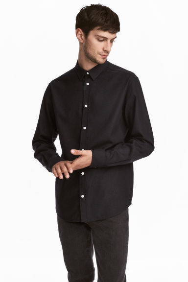 Raw silk shirt - Dark blue -  | H&M