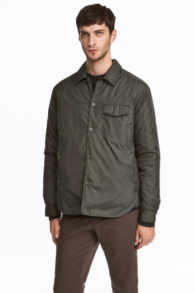 Padded nylon shirt jacket - Khaki green -  | H&M CN