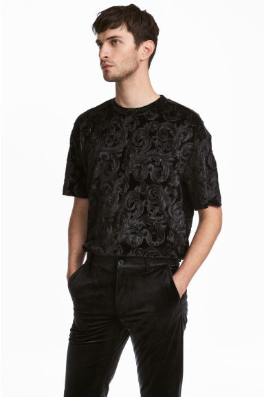 Velour T-shirt - Black - Men | H&M IE