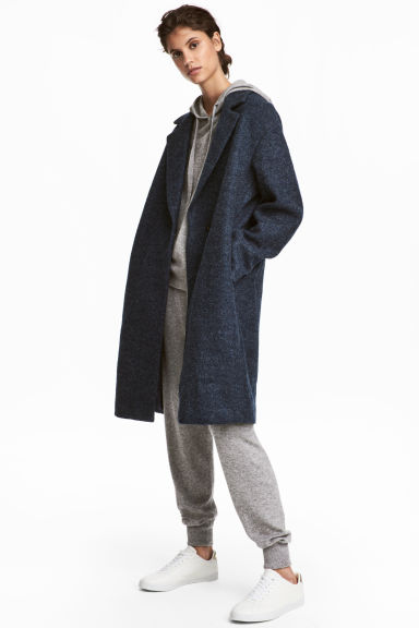 Wool-blend coat - Dark blue - Ladies | H&M CN