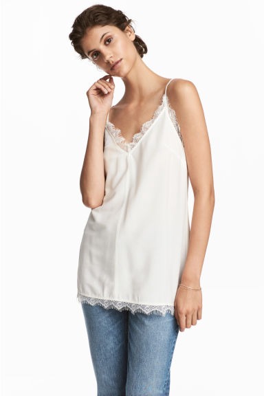 Crêpe strappy top - White - Ladies | H&M CN
