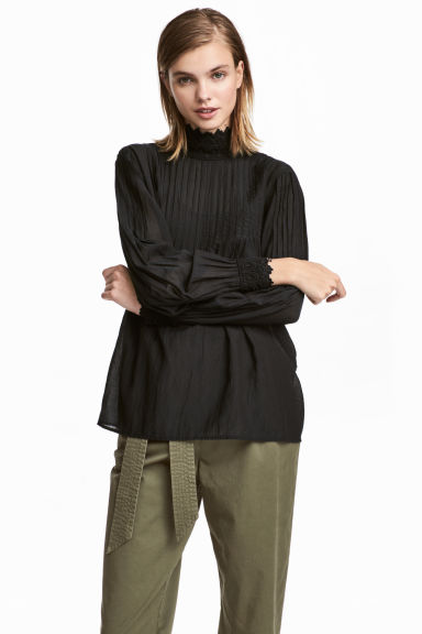 Blouse with lace details - Black - Ladies | H&M IE